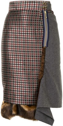 Kolor Panelled Asymmetric Pencil Skirt