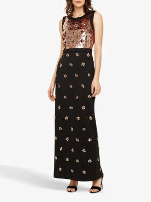 Phase Eight Gabby Embellished Dress, Black/Rose Gold