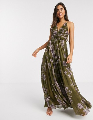 Asos DESIGN ruched bodice soft cami maxi dress with raw edge detail in khaki floral