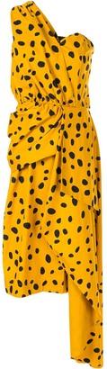 Romance Was Born Cheetah Minx draped dress