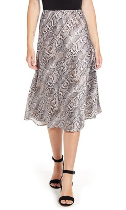 French Connection Snake Print Satin Midi Skirt