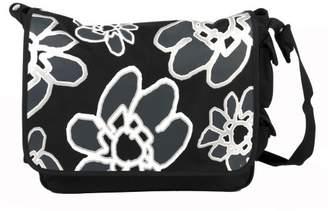 Little Company pf16.07 Power Flower Nappy Bag, Messenger Bag, Colour: Black, Ueberschlag with Flower Print Black/White/Black Prindet FAP)