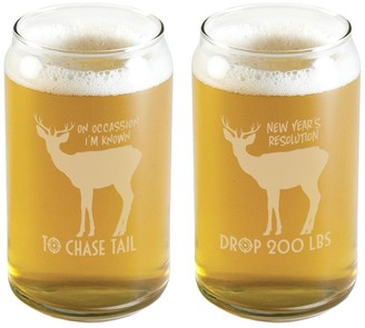 Susquehanna Glass Hunting Theme Beer Can Glass (Pair of 2) 16 oz