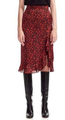 Maje Javie Flower Print Ruffle Hem Skirt