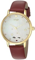 Kate Spade Women's 'Metro' Quartz Stainless Steel and Leather Casual Watch, Color:Red (Model: KSW1189)