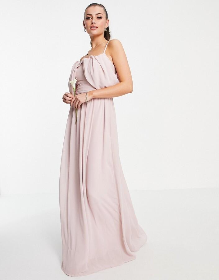 TFNC bridesmaid drape shoulder asymmetric maxi dress in mink