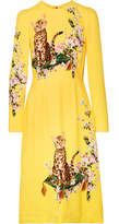 Dolce & Gabbana Printed Cady Midi Dress - Yellow