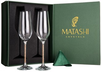 Matashi Set of 2 Champagne Flutes with Lead Free Sparkling Crystal Filled Long Stem Toasting Glasses, 8 oz, 10-inch Tall Glassware- Romantic Glass for Valentines Day, Parties & Celebration