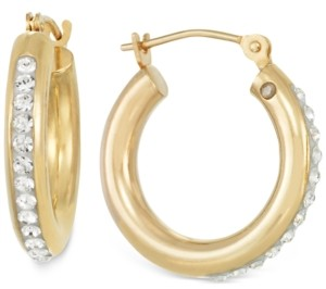 Signature Gold Sigature Gold Crystal Hoop Earrings in 14k Gold over Resin
