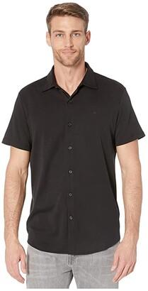 Calvin Klein Short Sleeve Liquid Touch Button-Up Polo Shirt (Black) Men's Clothing