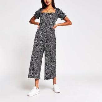 River Island Womens Black leopard print culotte