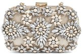 Natasha Couture Crystal Floral Box Clutch - Beige