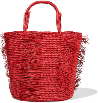 Sensi Caramelo Fringed Woven Toquilla Straw Tote