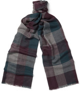 Loro Piana Stanford Checked Cashmere Scarf - Grape