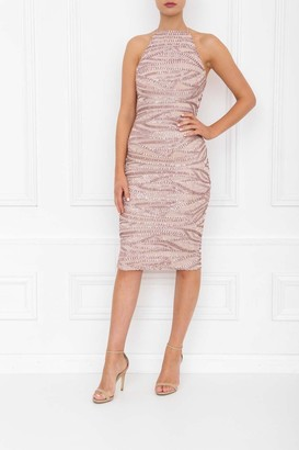 Honor Gold Harley Rose Pink Sequin Midi Dress