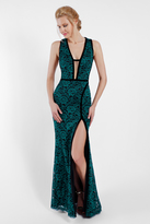 Terani Couture 1722E4191 Plunging Neckline Lace Evening Gown