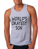 Allntrends Men's Tank Top World's Okayest Son Cool Funny Top (L, Heather Grey)