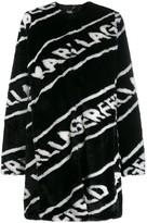 Karl Lagerfeld Paris faux fur logo coat