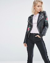 Barney's Originals Barneys Original Embroidered Leather Biker Jacket