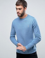 Farah Stones Crew Sweater Cotton Knit Slim Fit in Blue Marl