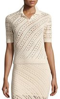 Altuzarra Fontaine Short-Sleeve Crochet Top, Cream