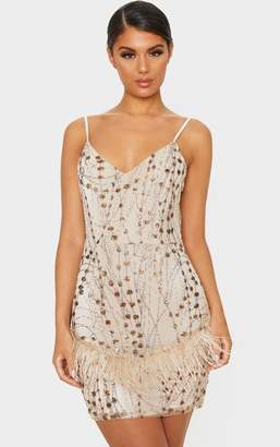 PrettyLittleThing Nude Strappy Sequin Embellished Feather Trim Bodycon Dress