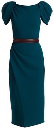Oscar de la Renta Draped-Sleeve Cocktail Dress