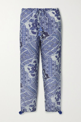 Figue Goa Embellished Printed Crepe De Chine Pants - Blue