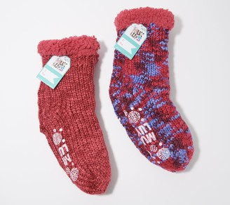 Muk Luks Faux Shearling Space Dye Cabin Socks Set of 2
