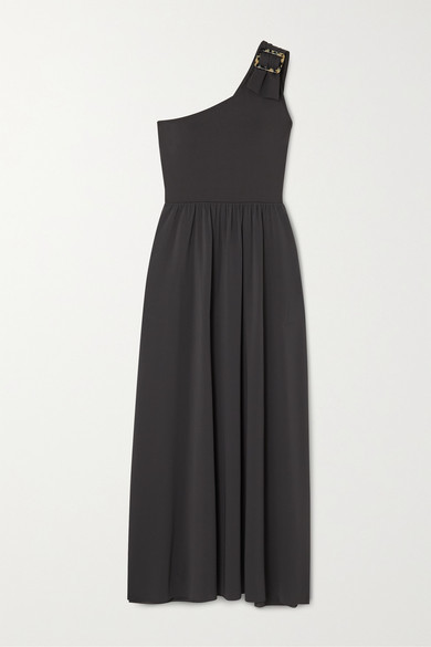 Eres One-shoulder Stretch-jersey Maxi Dress - Anthracite