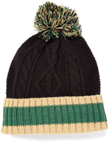 Burgundy Navy & Tan Cable Knit Rugby Beanie - Men