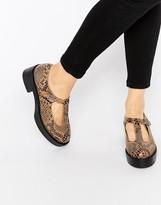Park Lane Platform T-Bar Suede Flat Shoes