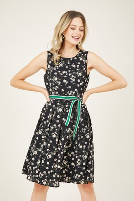 Yumi Black Daisy Skater Dress