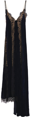 Stella McCartney Lace-trimmed Velvet Maxi Slip Dress