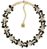 Anne Klein Flower Jet Epoxy Stone Collar Necklace