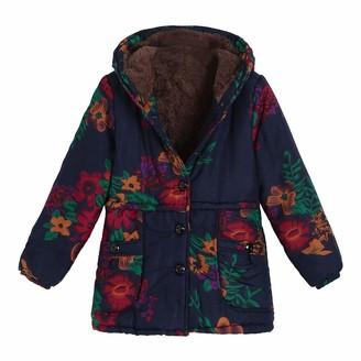 Lazzboy Coat Jacket Women Winter Vintage Warm Floral Flower Dot Print Hooded Fleece Flannel Lining Pockets UK 8-16(4XL(14)