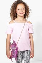 boohoo Girls Bardot Textured Top