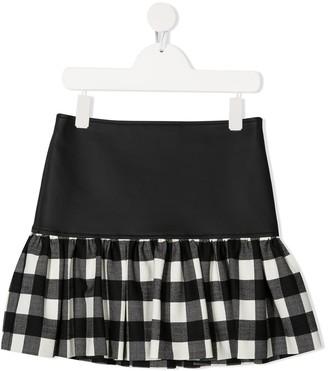 Simonetta Contrast-Panel Midi Skirt
