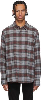 Frame Grey and Burgundy Brushed Plaid Shirt