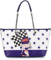Love Moschino Saffiano Faux-Leather Shoulder Bag, Blue
