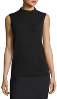 Lafayette 148 New York Sleeveless Mock-Neck Sequin-Trim Cashmere Pullover