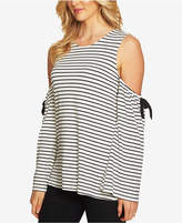 CeCe Striped Cold-Shoulder Top
