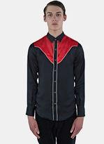 Saint Laurent Men's Satin Contrast Yoke Shirt In Black