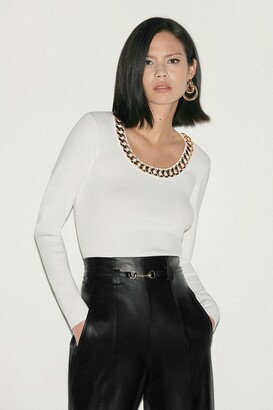Karen Millen Black Label Chain Detail Scoop Neck Jumper