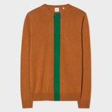 Paul Smith Men's Burnt Orange Cashmere Sweater With Stripe