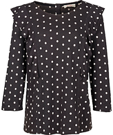 Fat Face Linley Polka Dot Ruffle Top, Phantom