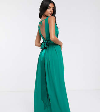 TFNC Bridesmaid maxi dress with satin bow back in emerald green