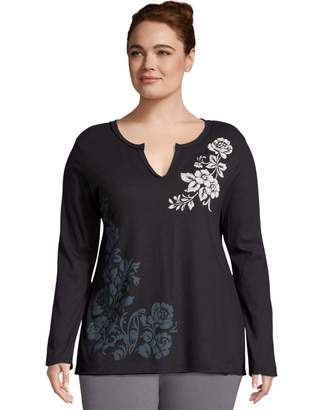 Just My Size Women's Plus Size Long Sleeve Graphic Tee