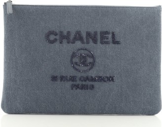 Chanel Deauville Pouch Denim with Sequins Large