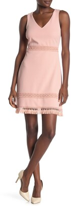 Kensie Solid Crochet Tassel Trim Sheath Dress